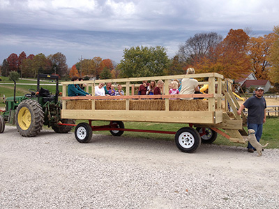 Enjoy a hayride at Anderson Orchard in Mooresville, Indiana